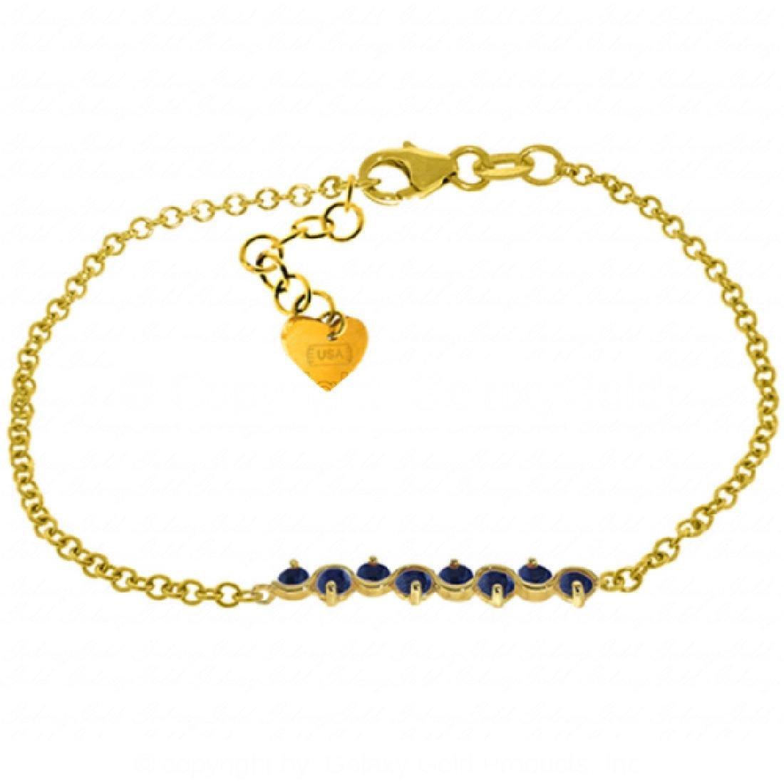 Genuine 1.55 ctw Sapphire Bracelet Jewelry 14KT Yellow