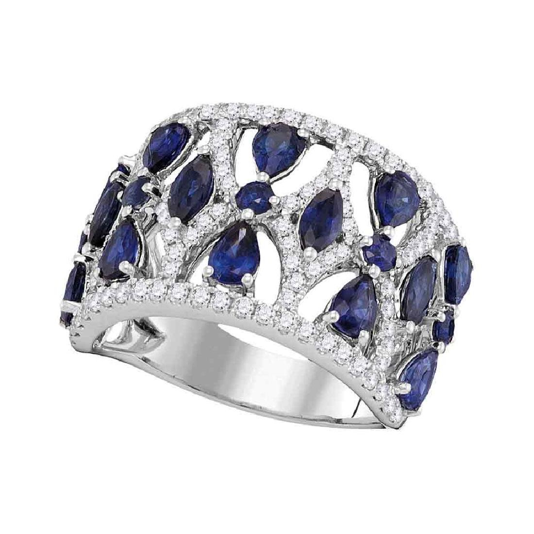 3.95 CTW Pear Prong-set Blue Sapphire Openwork Ring
