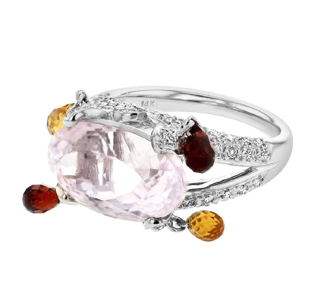 12.86 CTW Kunzite Gemstone Ring 14K White Gold -