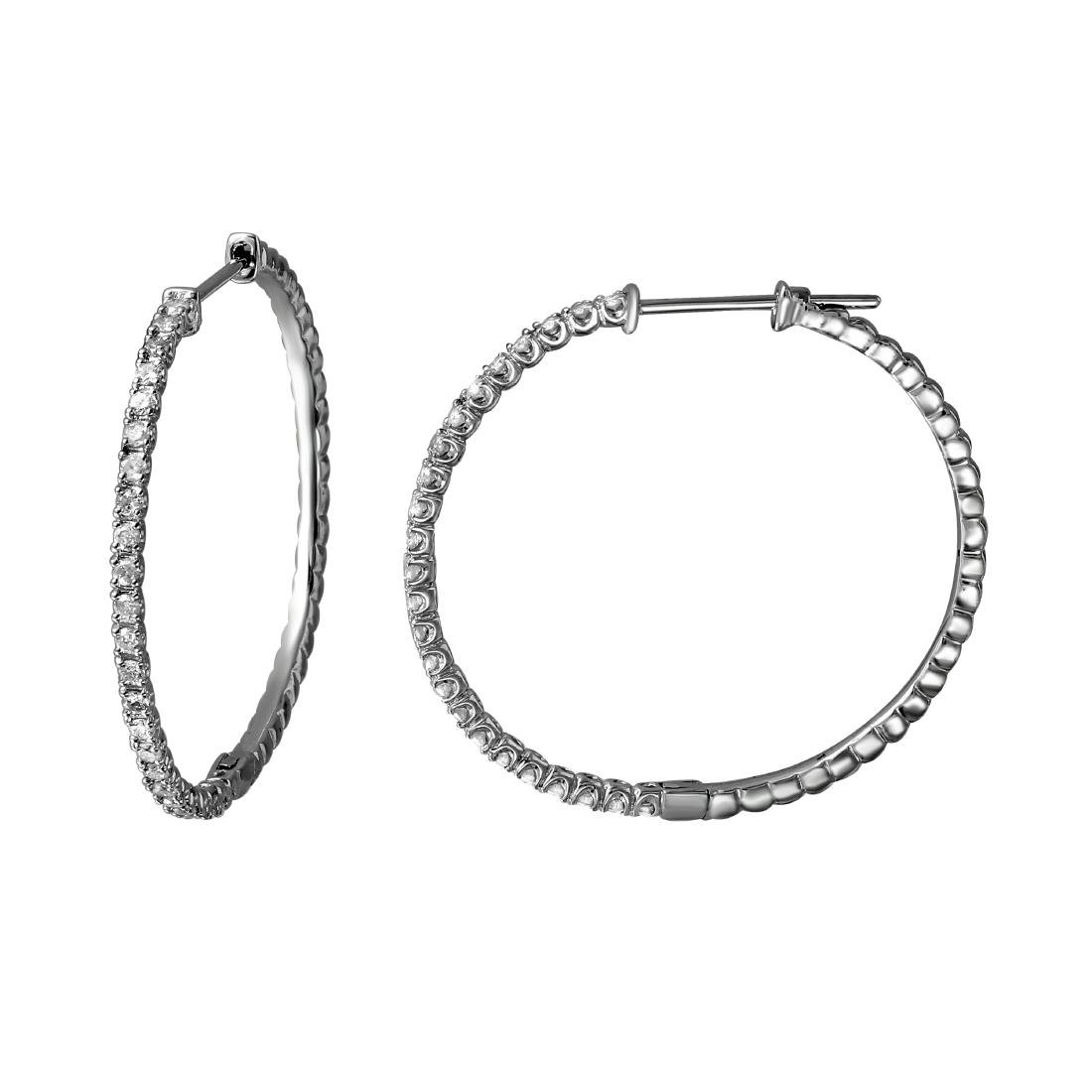 0.81 CTW Diamond & Hoop Earring 14K White Gold -