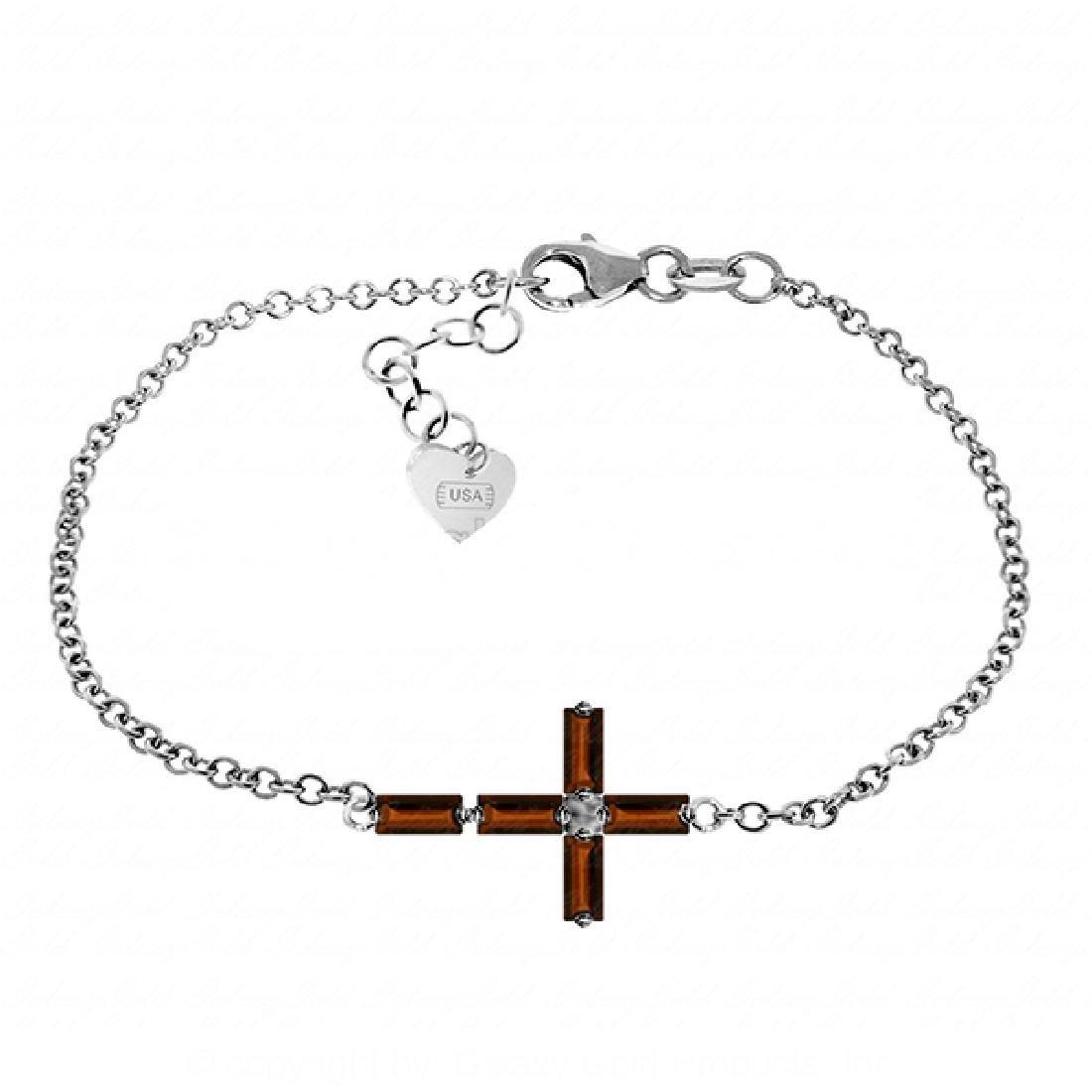 Genuine 1.15 ctw Garnet Bracelet Jewelry 14KT White