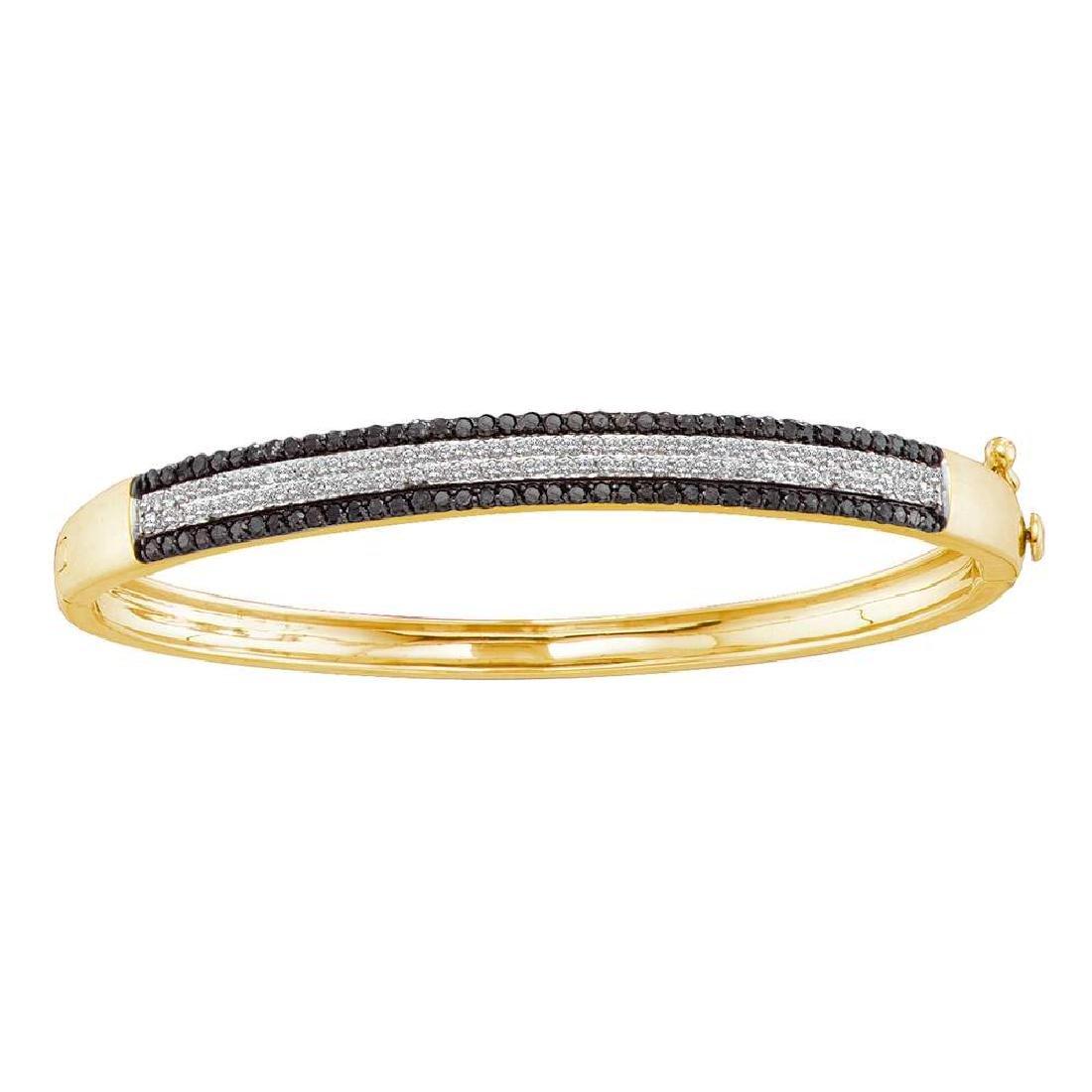 1.4 CTW Black Color Diamond Bangle Bracelet 14KT Yellow