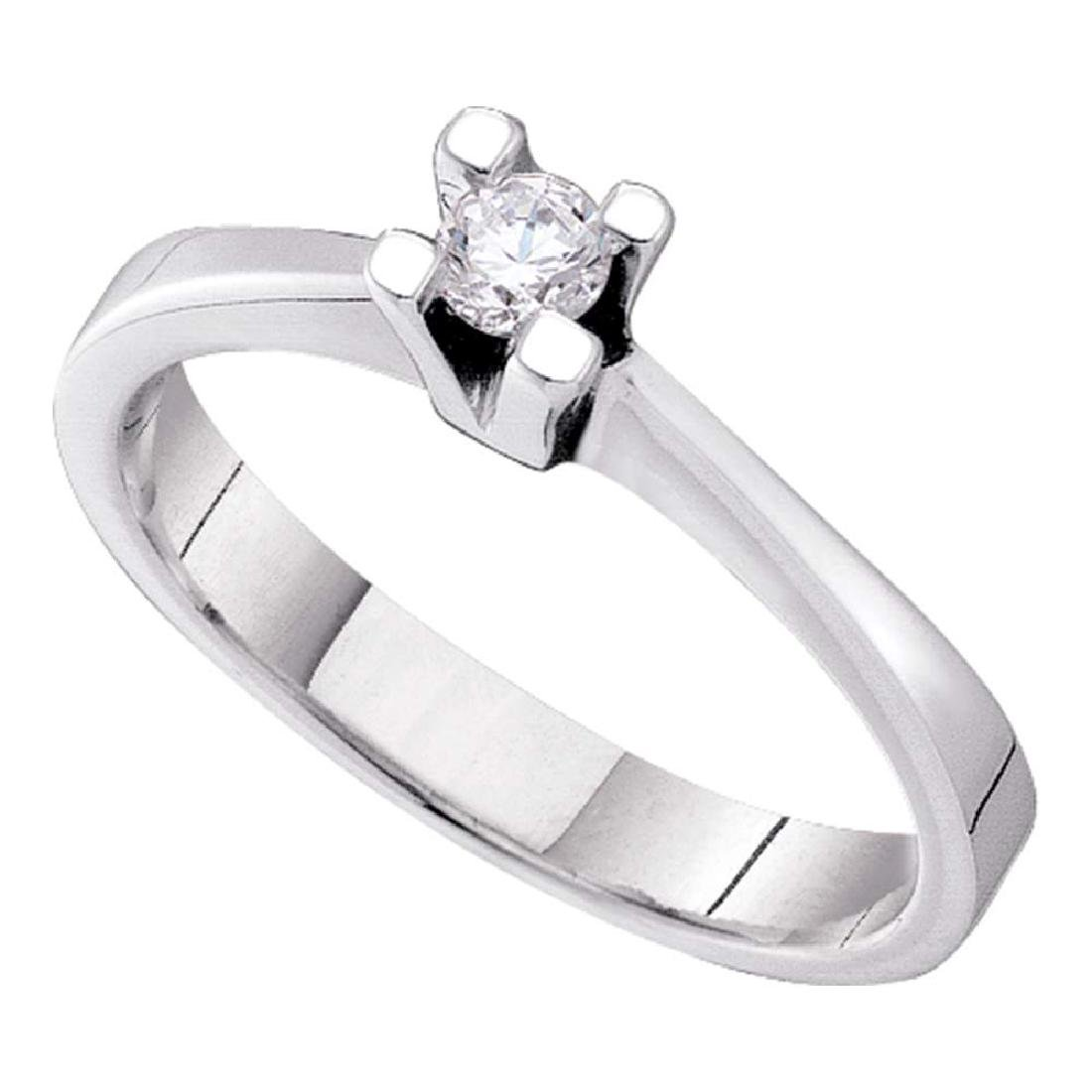 0.10 CTW Diamond Solitaire Bridal Engagement Ring 14KT