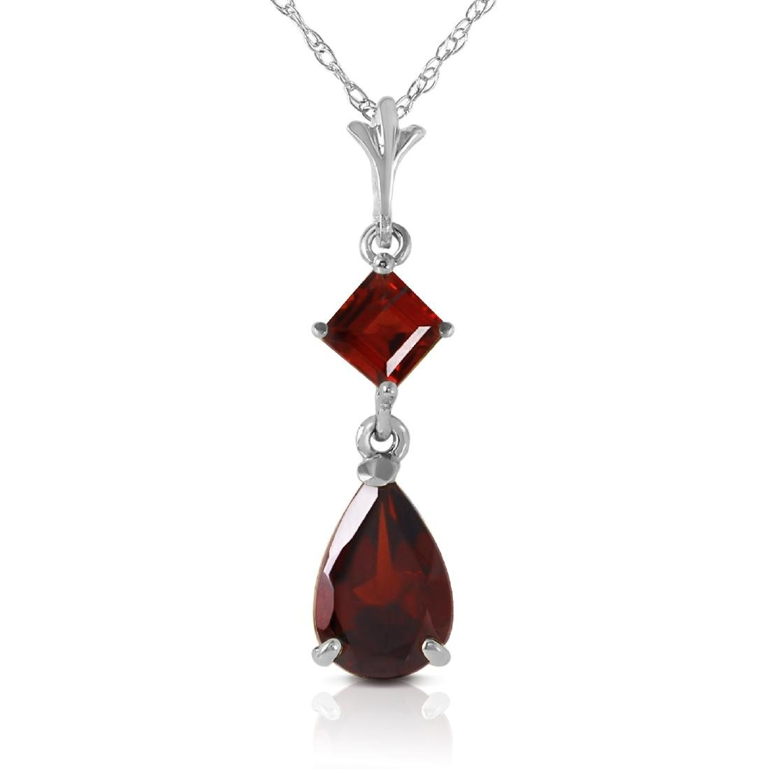 Genuine 2 ctw Garnet Necklace Jewelry 14KT White Gold -