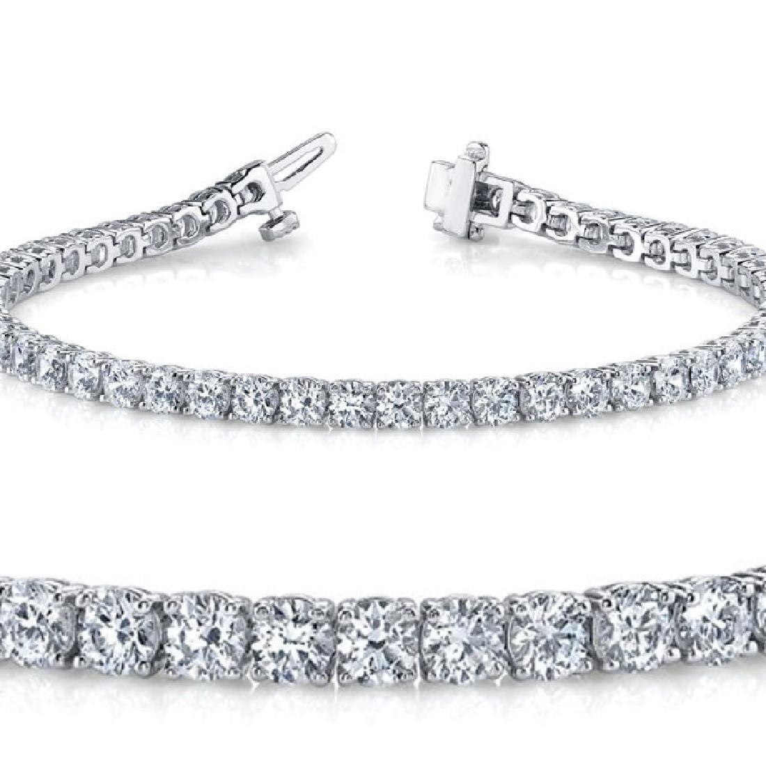 Natural 4ct VS-SI Diamond Tennis Bracelet 14K White