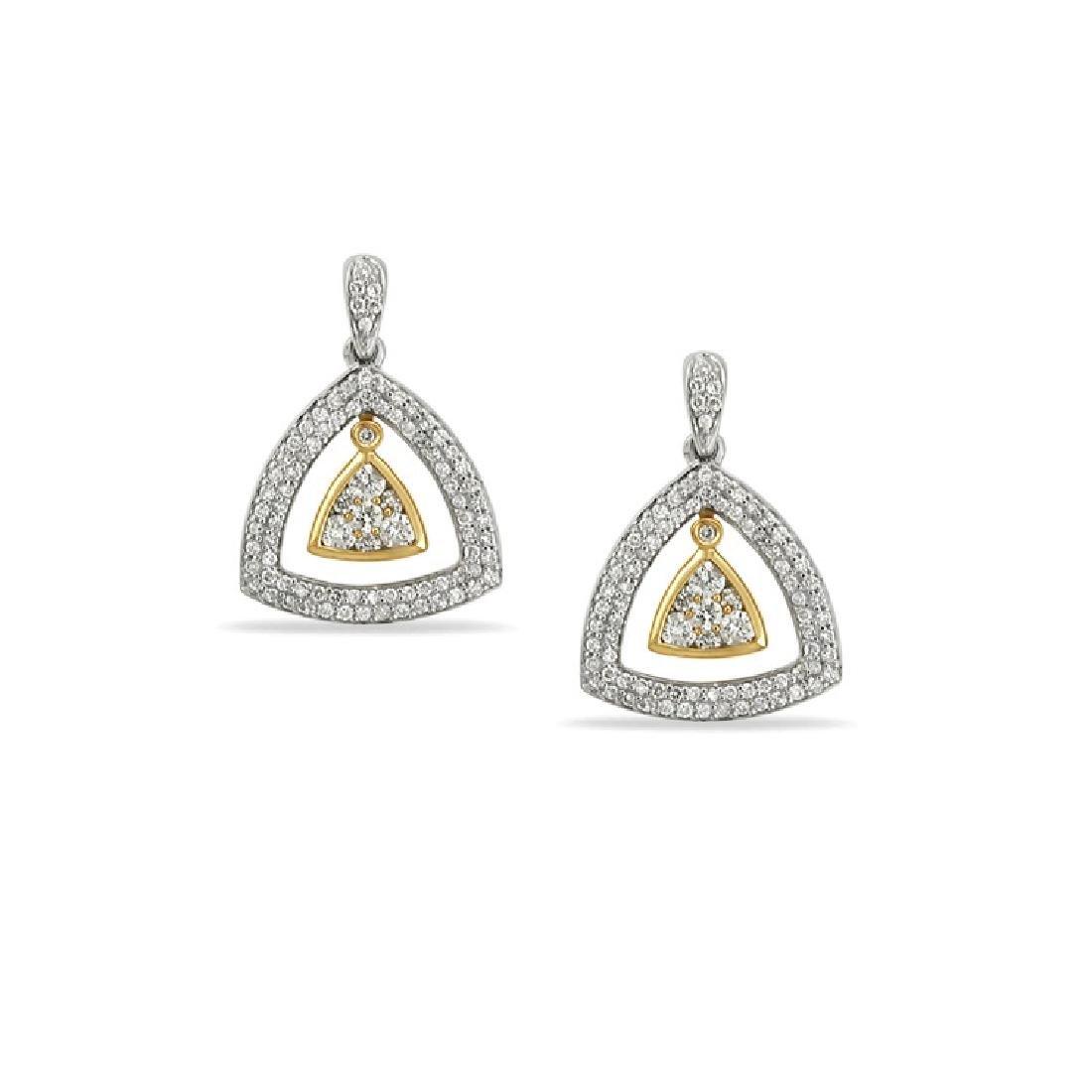 1 CTW Diamond Earring 14K Two Tone Yellow Gold -