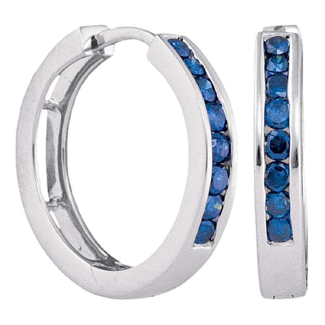 0.50 CTW Blue Color Channel-Set Diamond Hoop Earrings