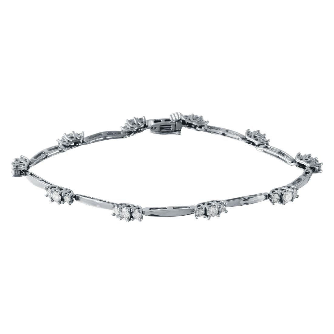 2.5 CTW Diamond & Link Bracelet 14K White Gold -