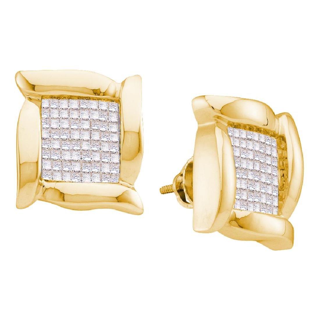 0.98 CTW Princess Diamond Square Cluster Stud Earrings