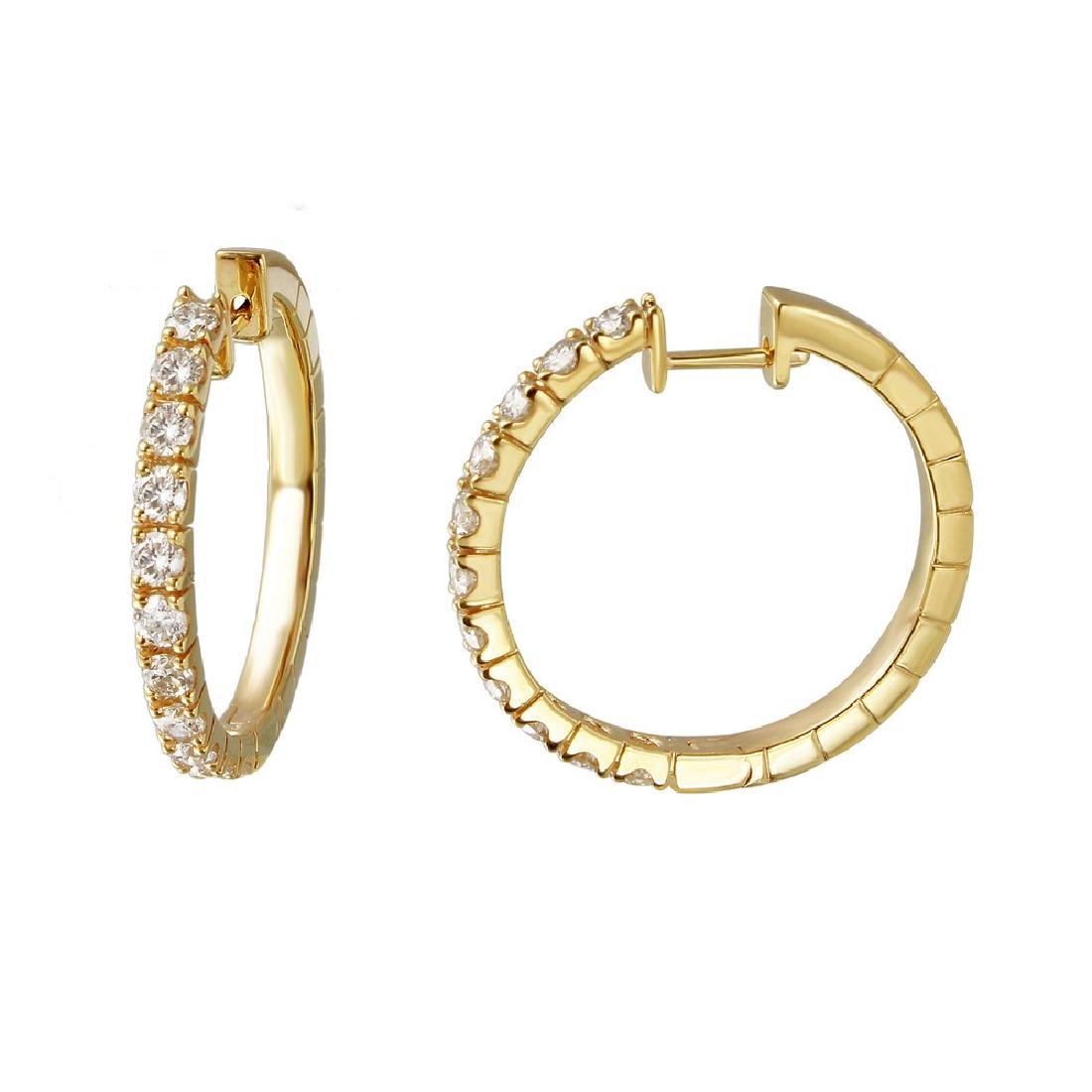 1.77 CTW Diamond & Hoop Earring 14K Yellow Gold -