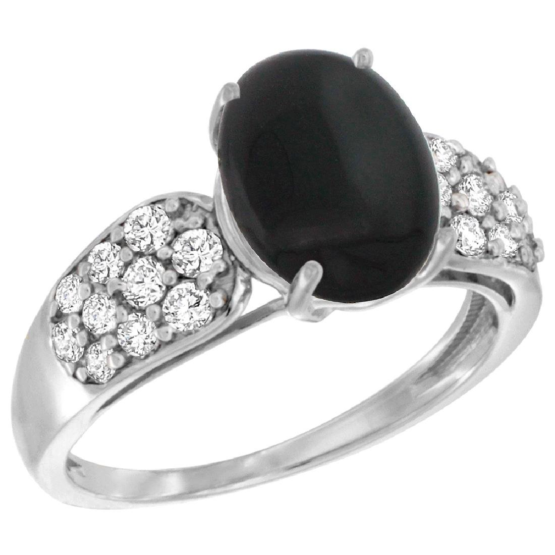 Natural 1.9 ctw onyx & Diamond Engagement Ring 14K