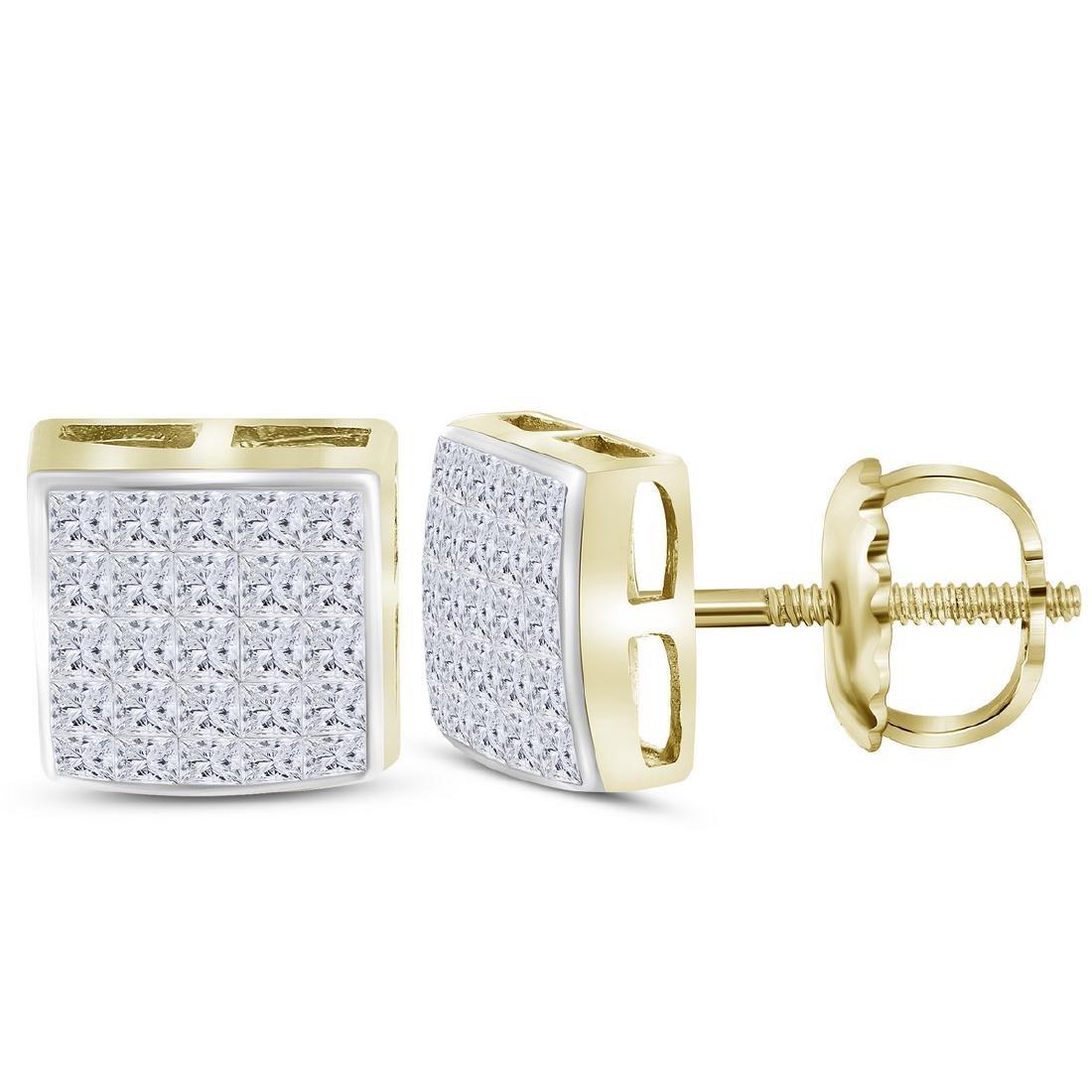 0.63 CTW Princess Diamond Square Cluster Stud Earrings