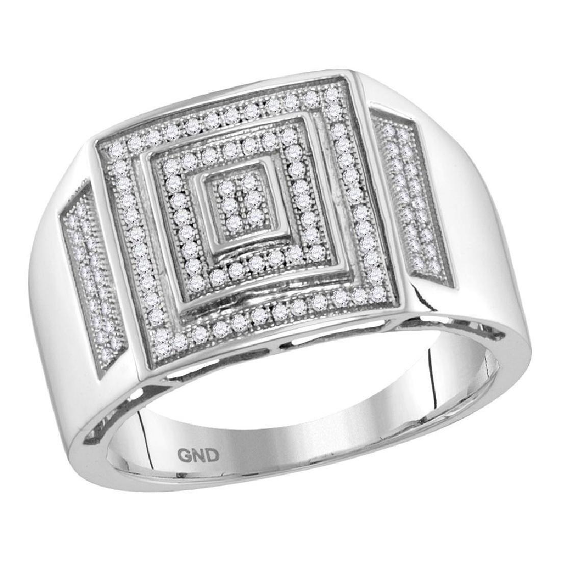 0.35 CTW Mens Pave-set Diamond Square Cluster Ring 10KT