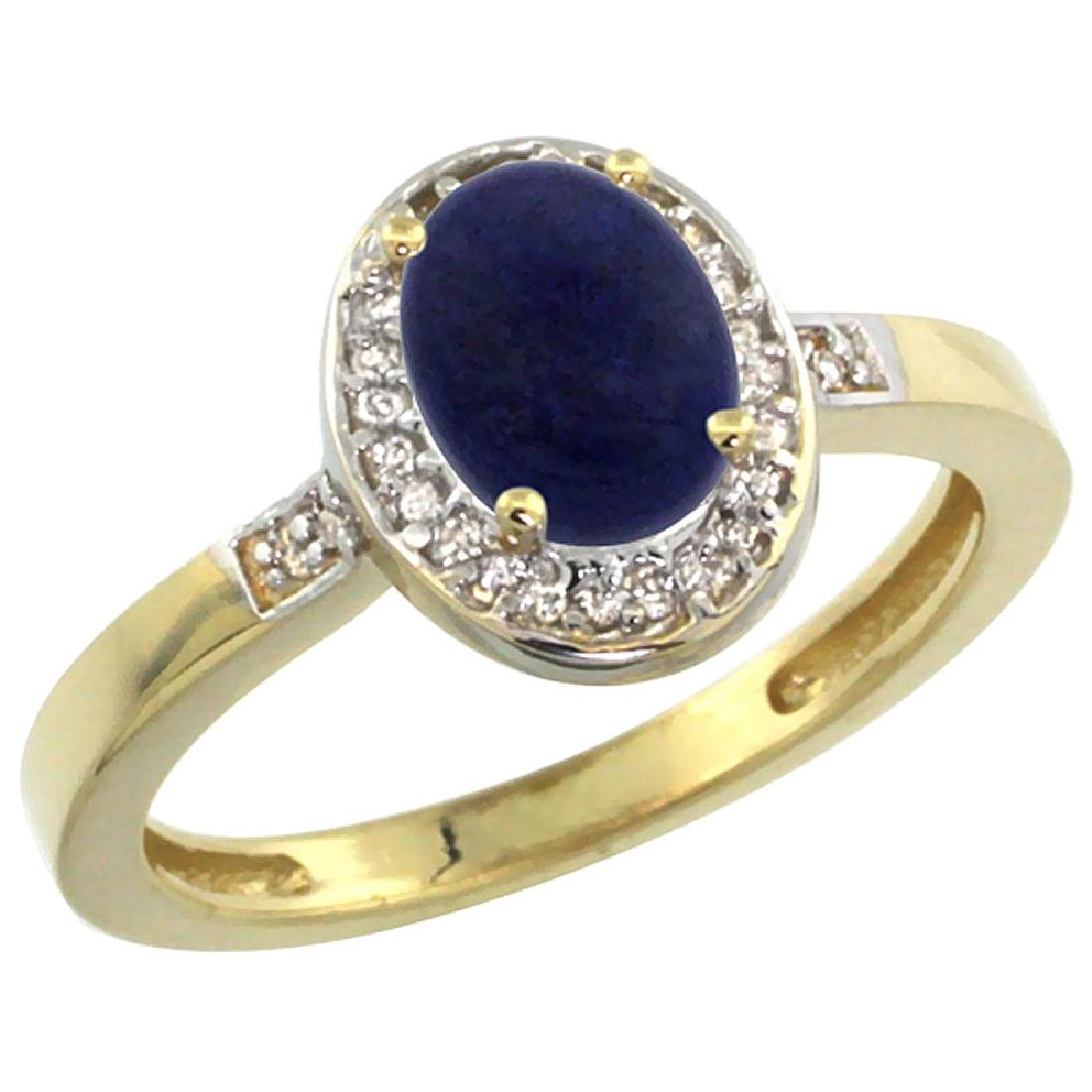 Natural 0.83 ctw Lapis & Diamond Engagement Ring 10K