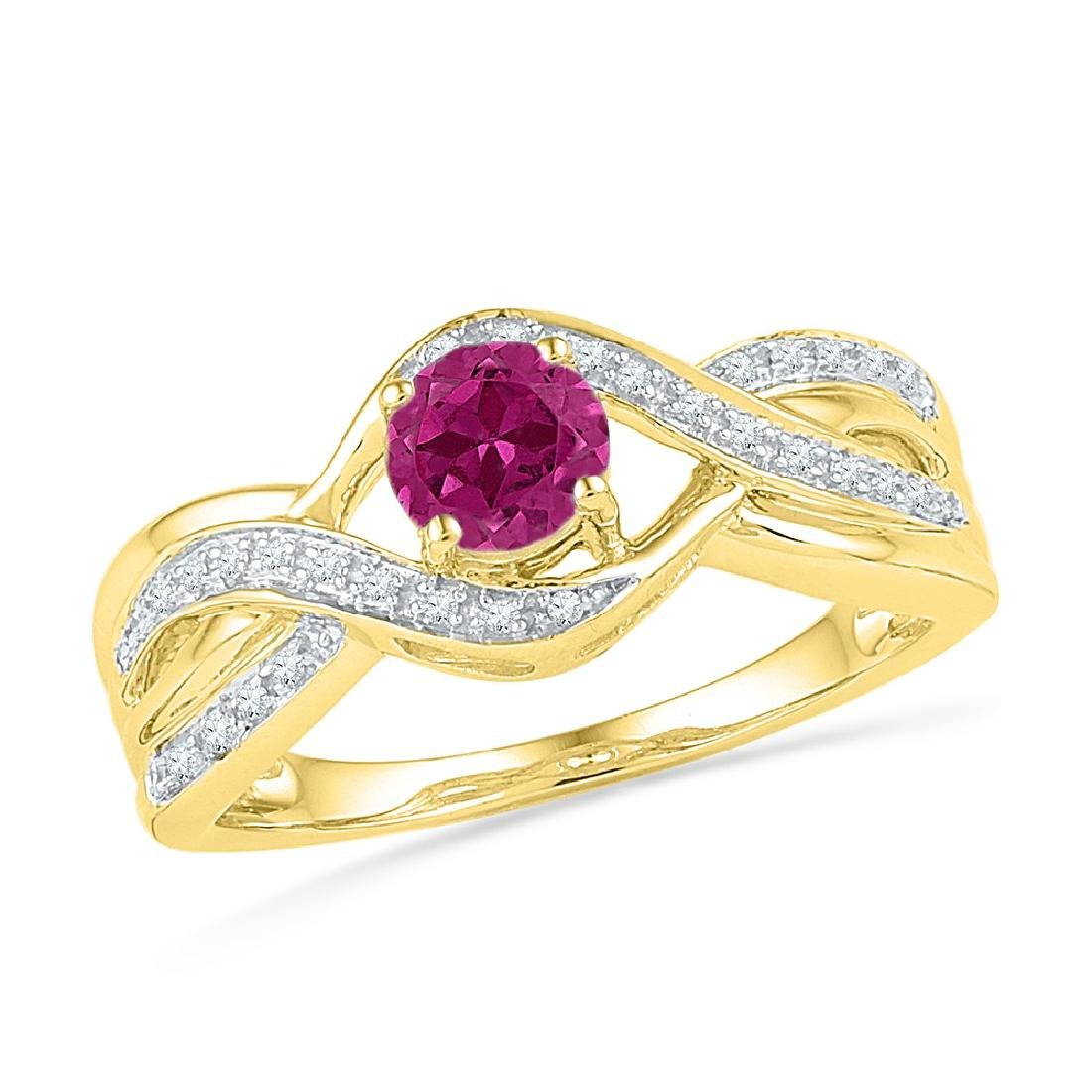 0.10 CTW Created Pink Sapphire Solitaire Diamond Ring
