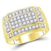 099 CTW Mens Diamond Rectangle Cluster Ring 10KT