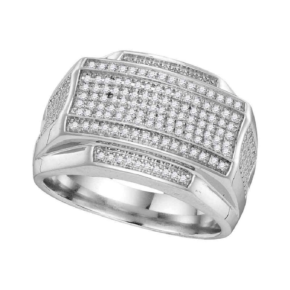 0.40 CTW Mens Pave-set Diamond Rectangle Cluster Ring
