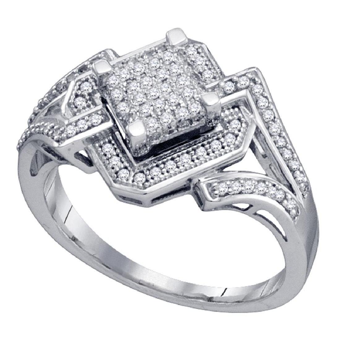 0.35 CTW Diamond Diagonal Square Cluster Ring 10KT