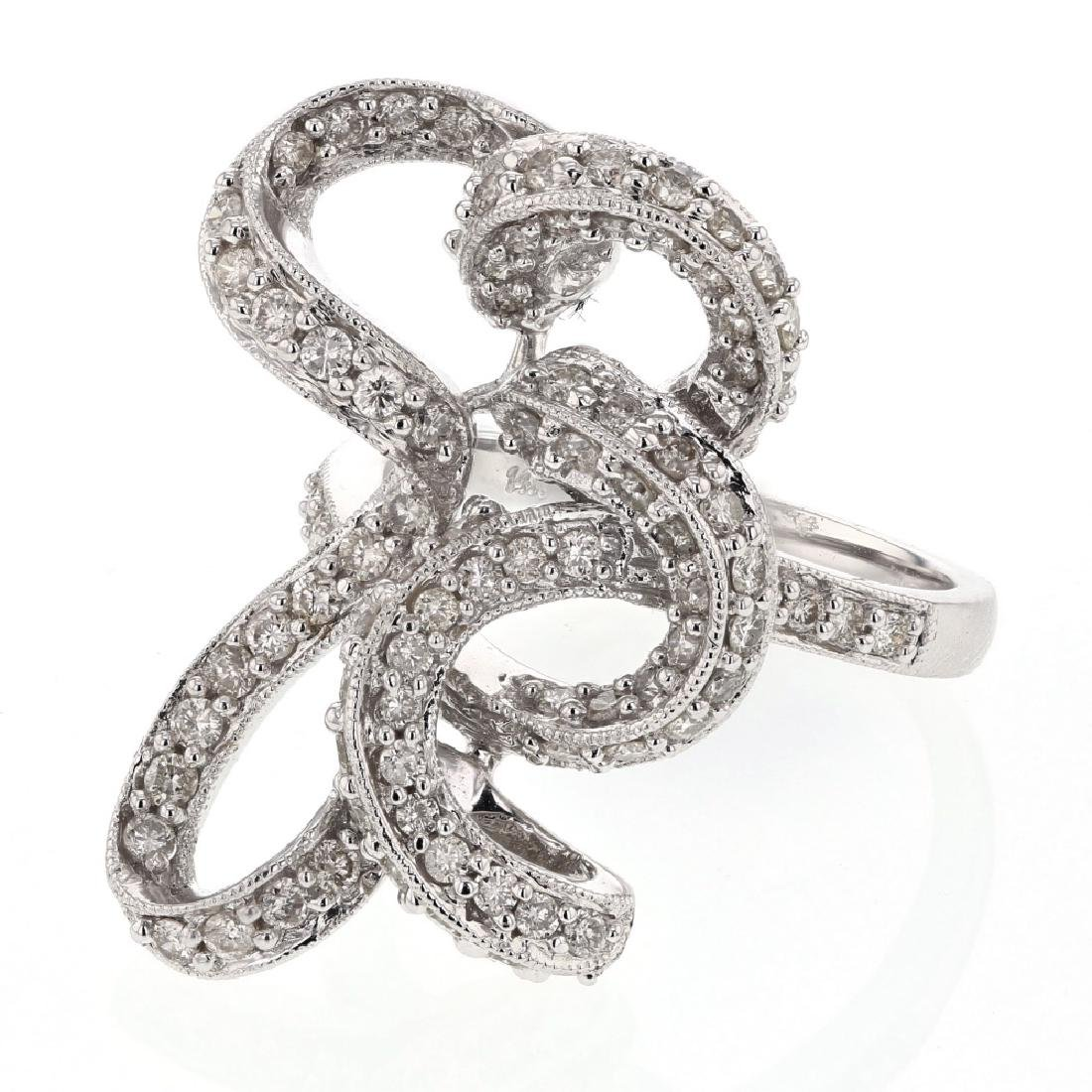 1.21 CTW Diamond Cocktail Ring 14K White Gold -