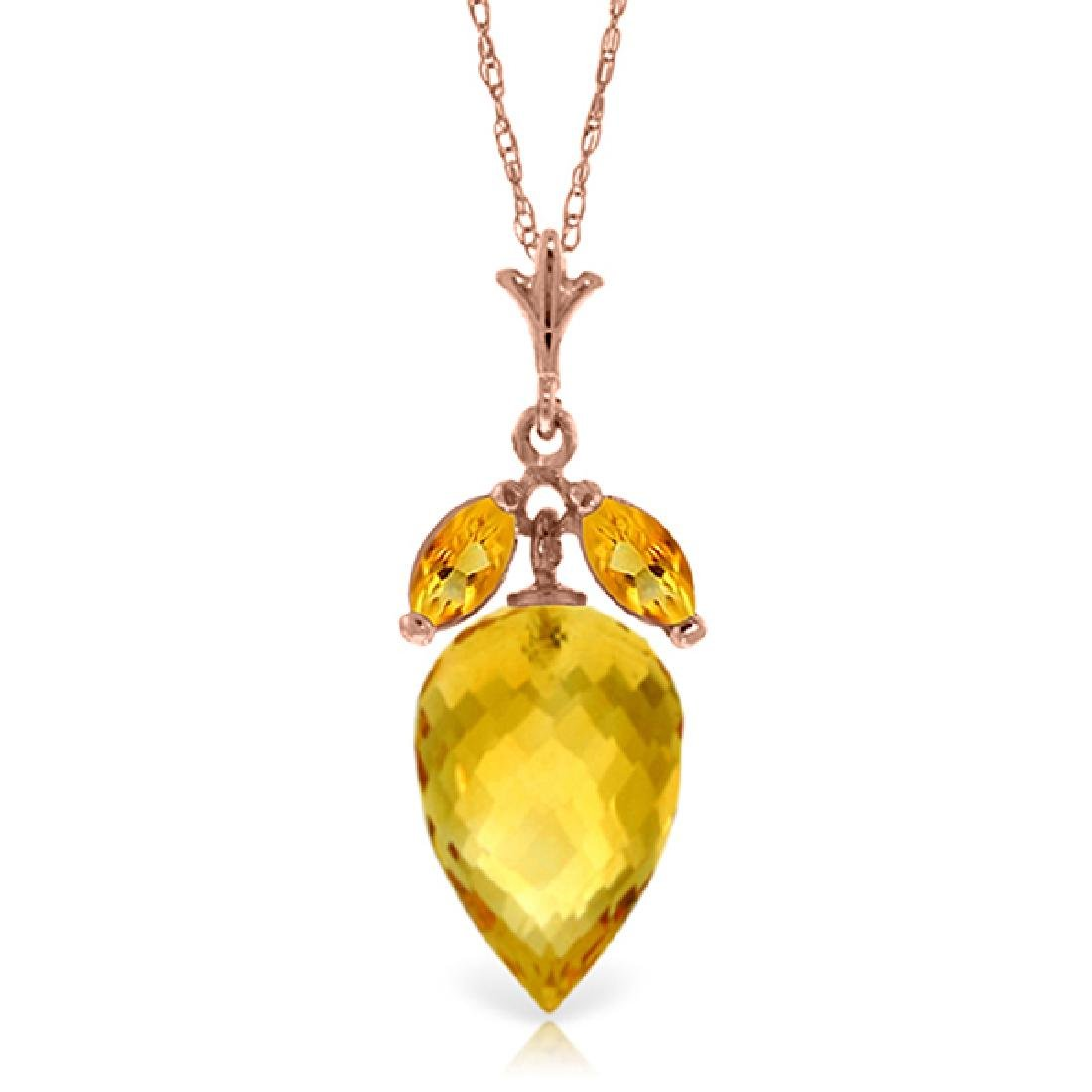 Genuine 10 ctw Citrine Necklace Jewelry 14KT Rose Gold