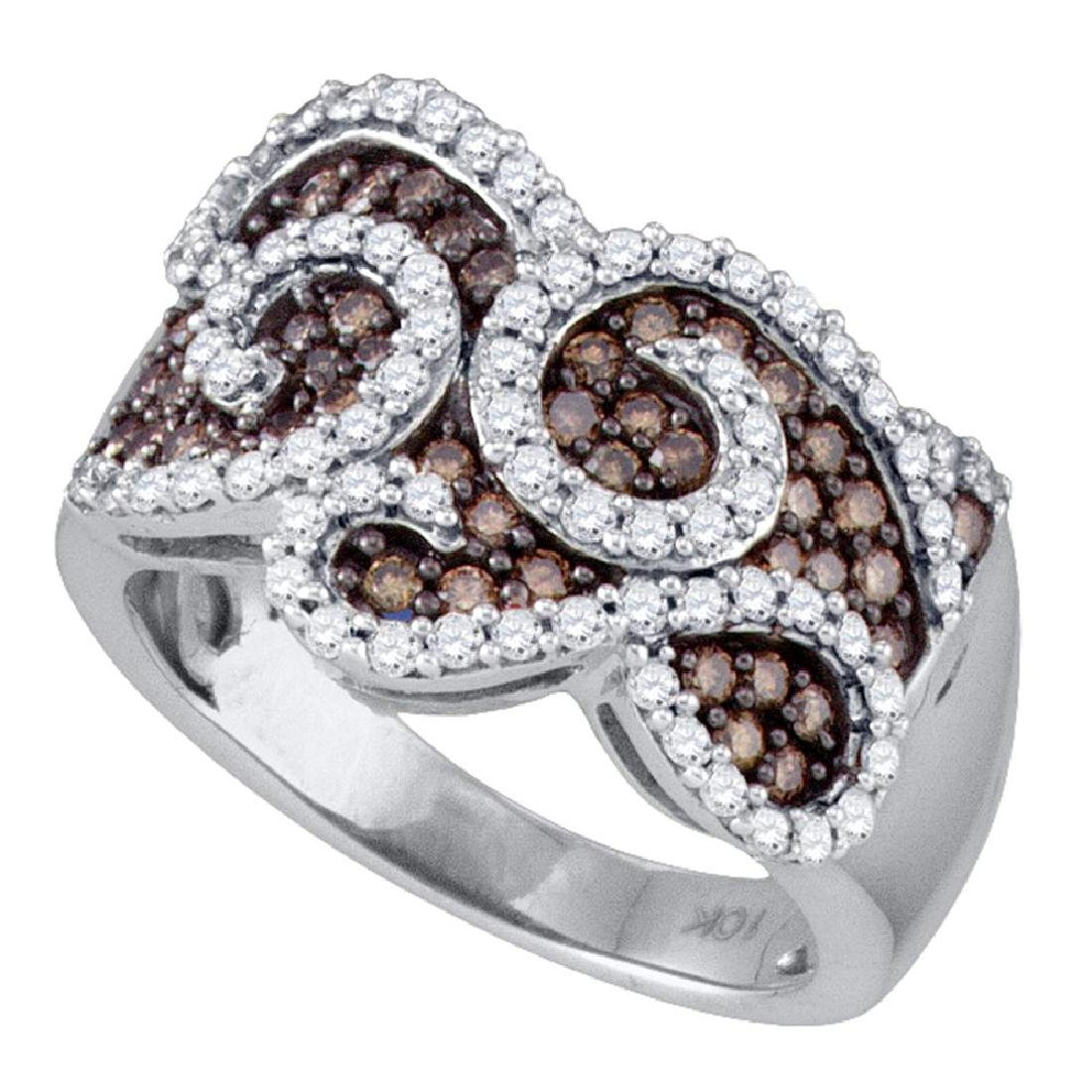 1 CTW Cognac-brown Color Diamond Swirled Cocktail Ring