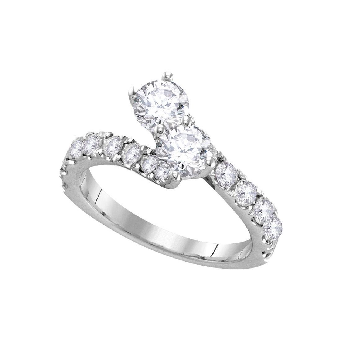 1.98 CTW Diamond 2-stone Bypass Bridal Wedding