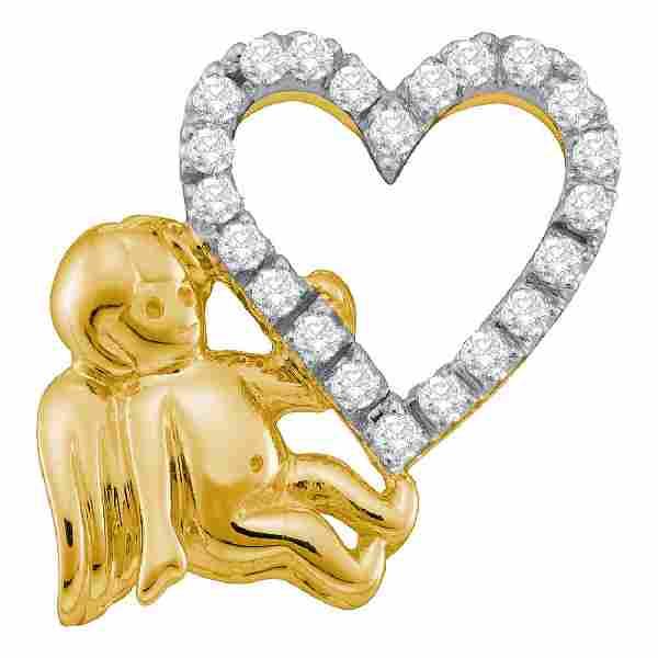 0.16 CTW Diamond Cherub Angel Heart Pendant 10KT Yellow