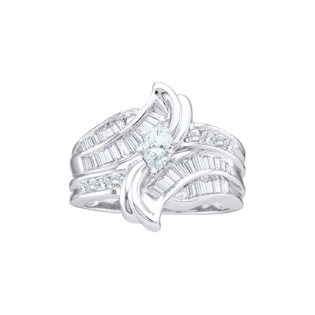 1 CTW Marquise Diamond Solitaire Bridal Engagement Ring