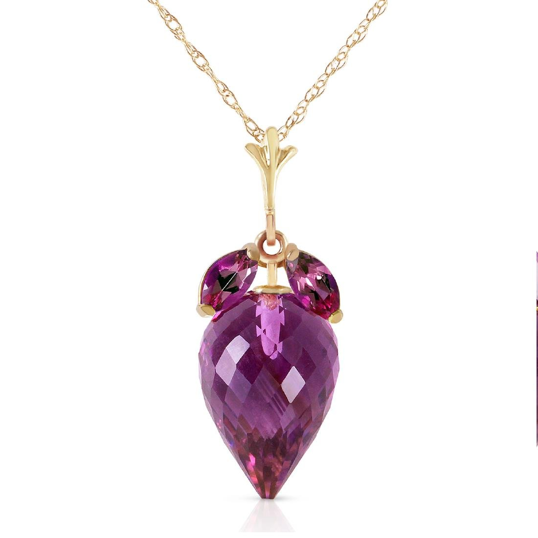 Genuine 10 ctw Amethyst Necklace Jewelry 14KT Yellow