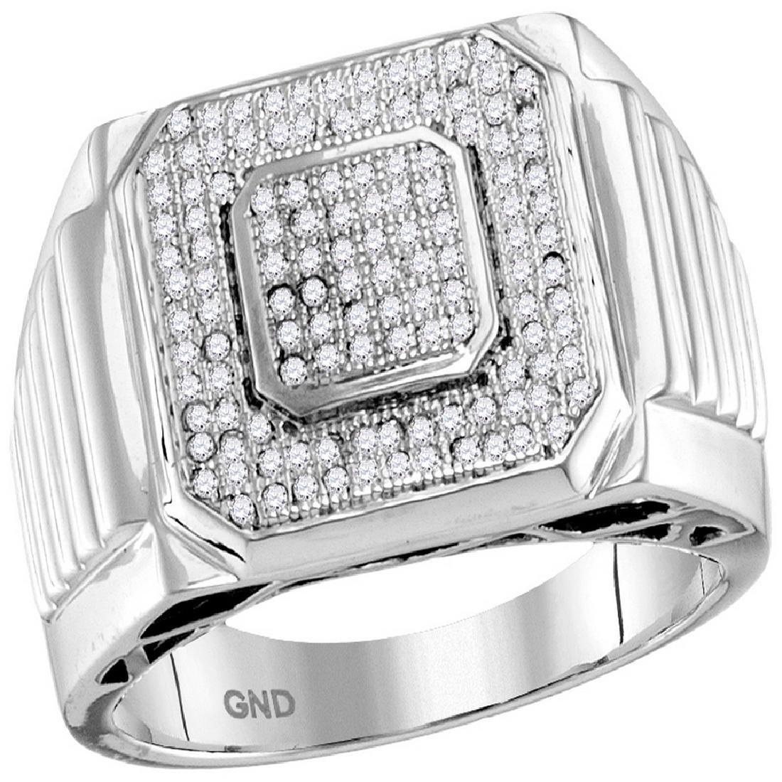 0.33 CTW Mens Pave-set Diamond Square Cluster Ring 10KT