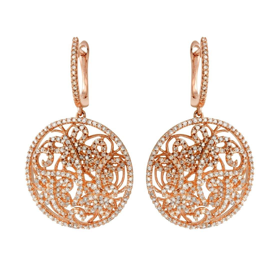 1.66 CTW Diamond Drop Earring 14K Rose Gold -