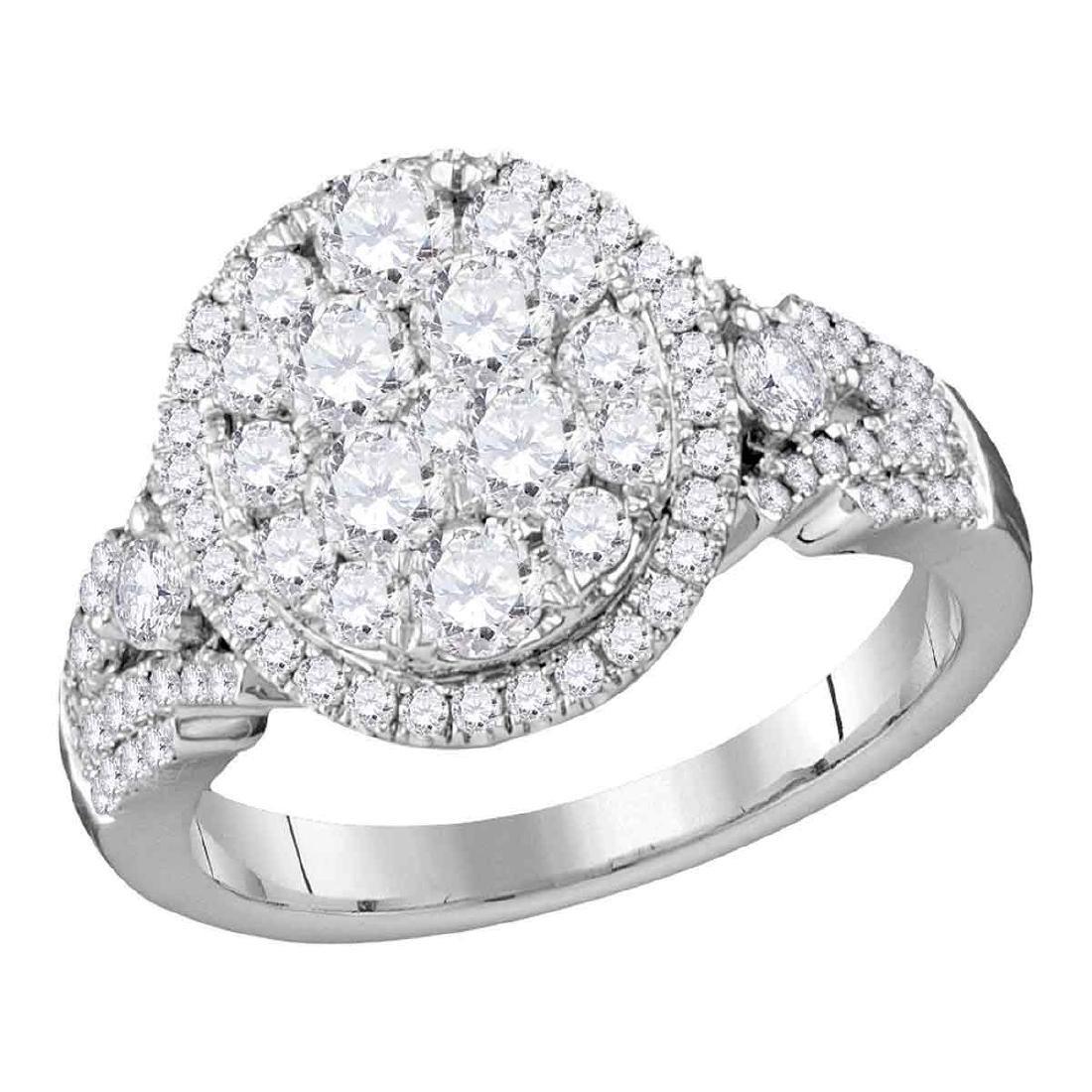 1.53 CTW Diamond Cluster Bridal Engagement Ring 14KT