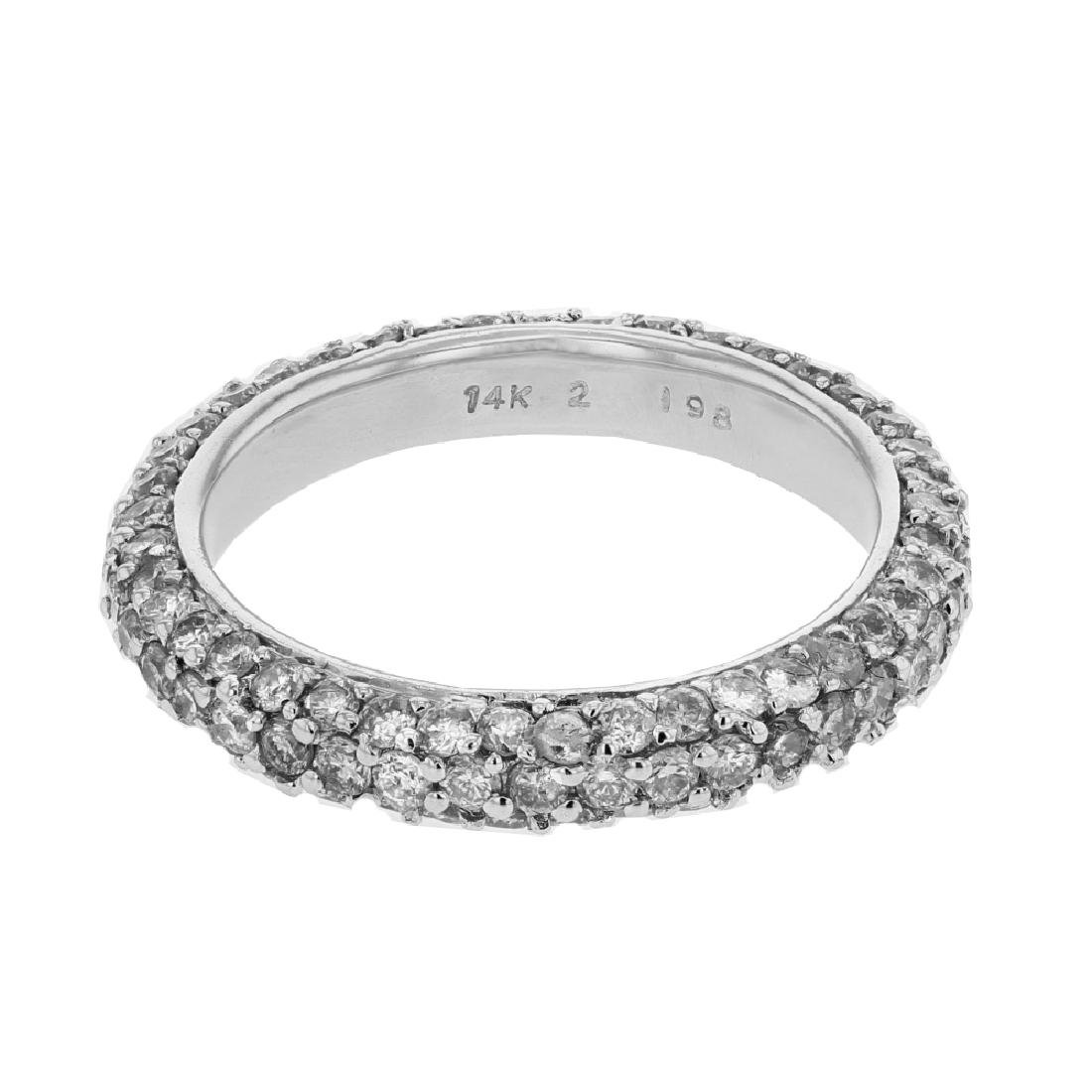 2.04 CTW Diamond & Band Ring 18K White Gold -