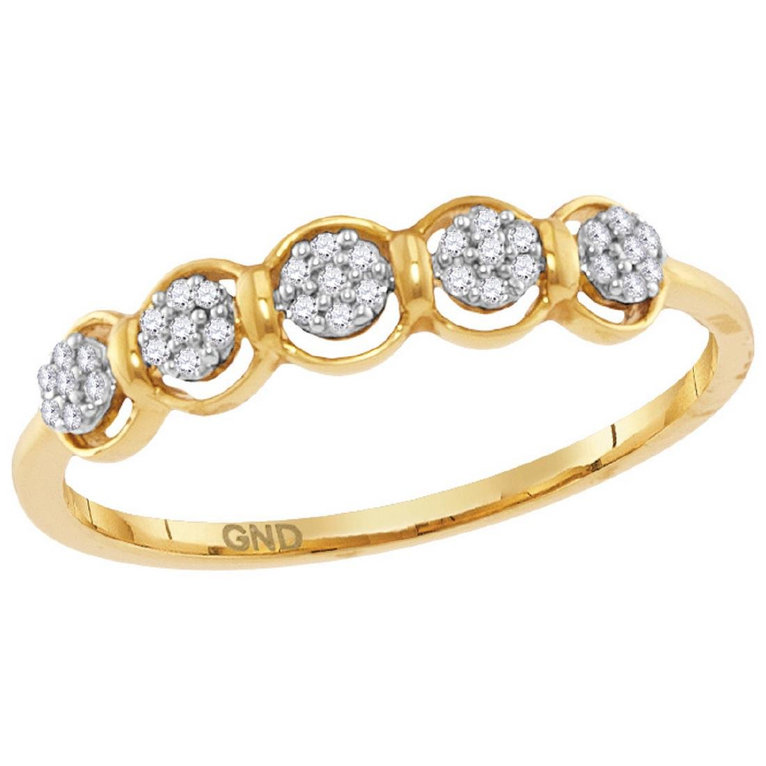 0.10 CTW Diamond Cluster Ring 10KT Yellow Gold -