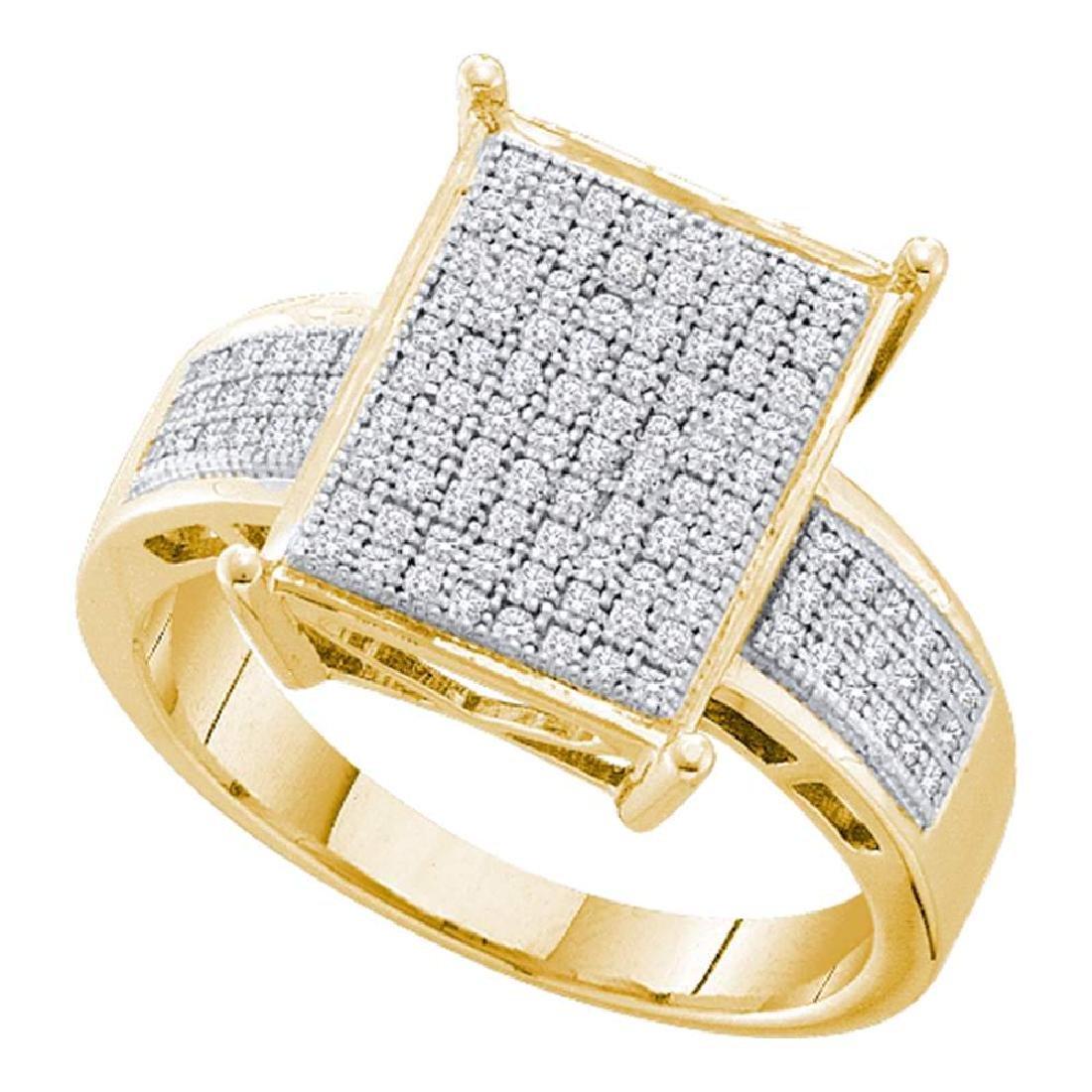 0.30 CTW Pave-set Diamond Rectangle Cluster Ring 10KT