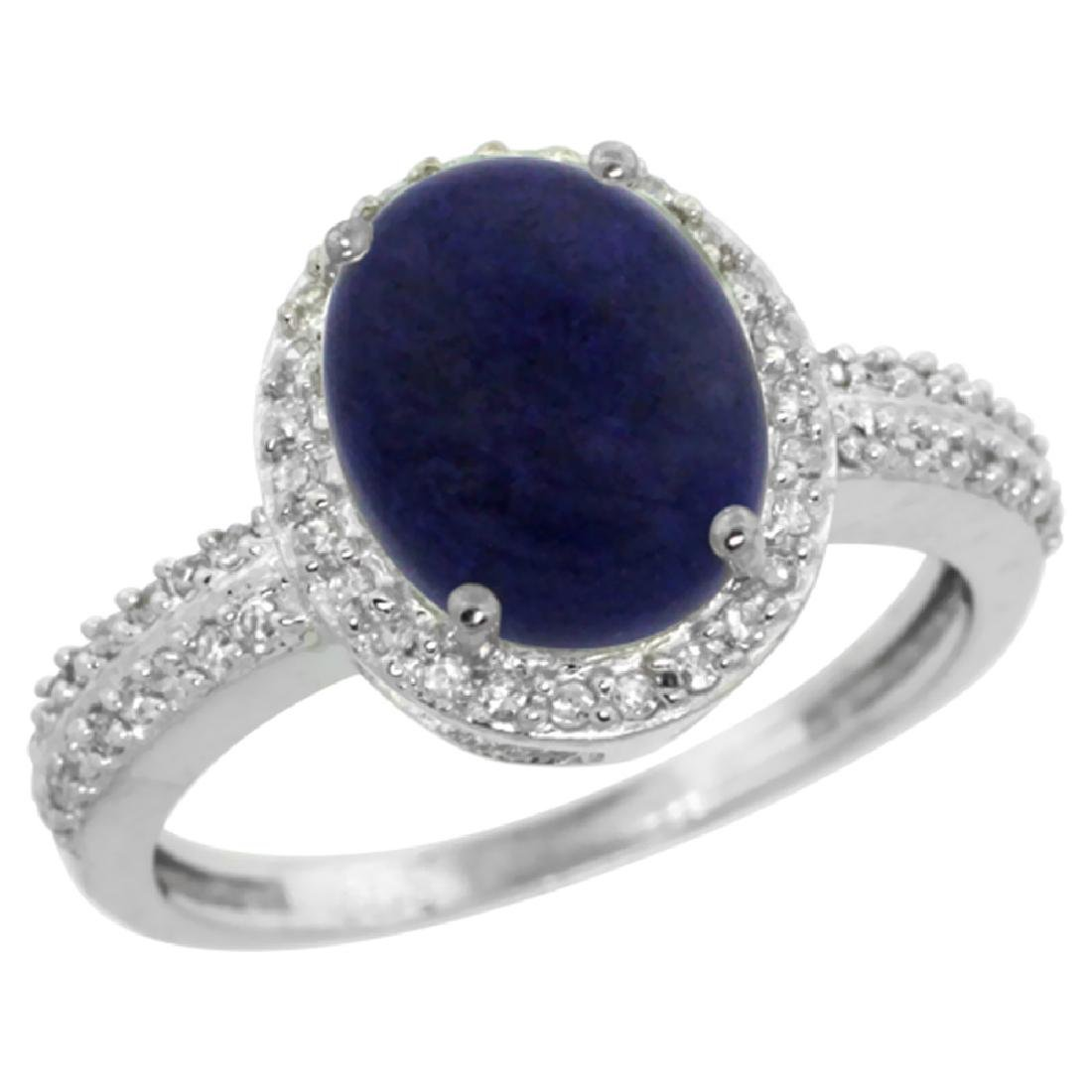 Natural 2.56 ctw Lapis & Diamond Engagement Ring 10K