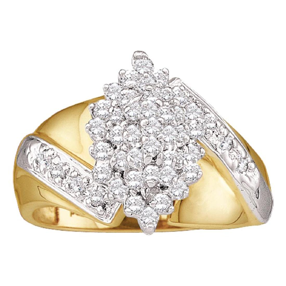 0.50 CTW Diamond Cluster Ring 14KT Yellow Gold -