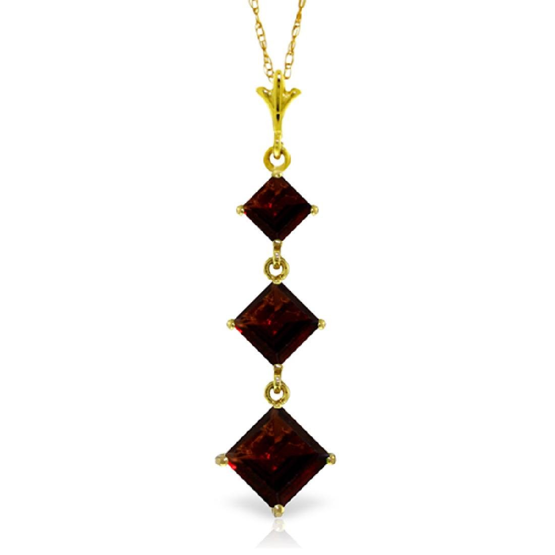 Genuine 2.4 ctw Garnet Necklace Jewelry 14KT Yellow