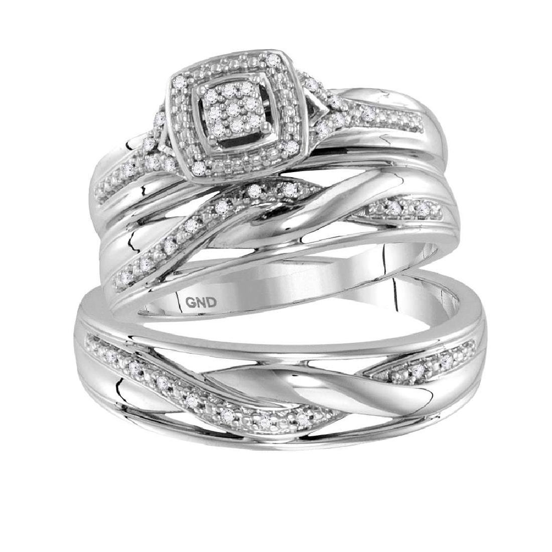 0.10 CTW His & Hers Diamond Cluster Matching Bridal