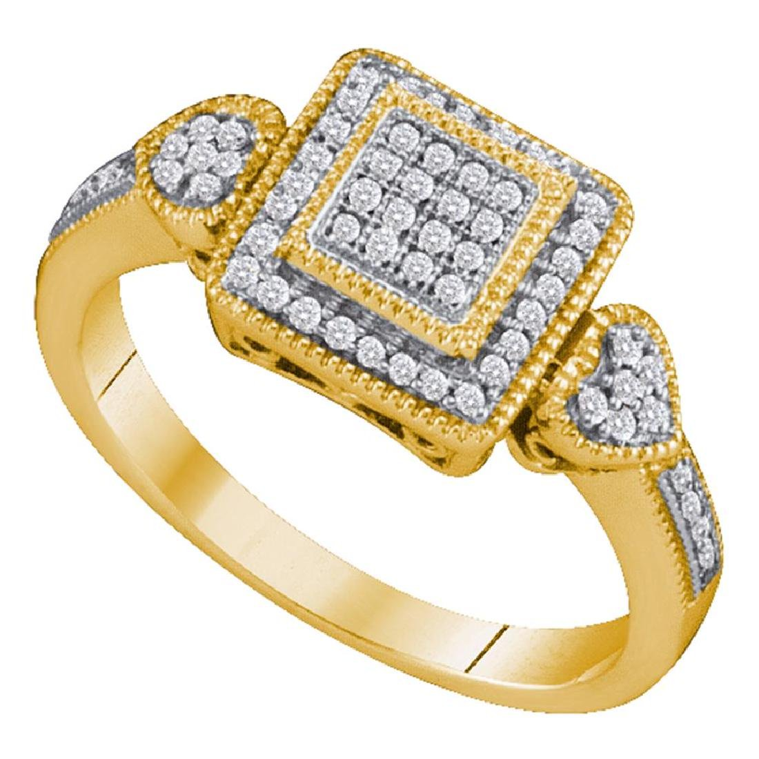 0.20 CTW Diamond Square Cluster Diamond Ring 10KT
