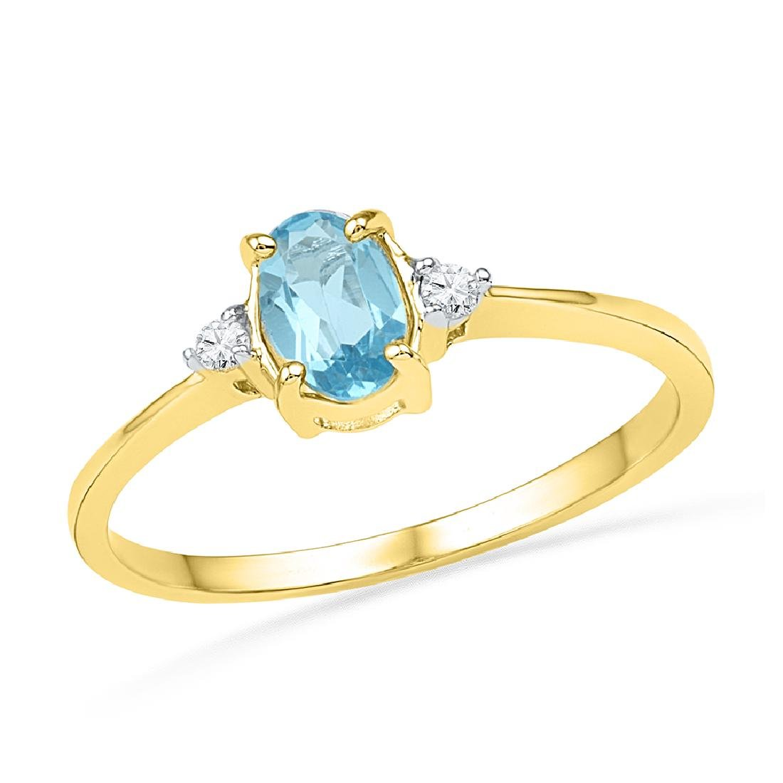1.05 CTW Oval Created Blue Topaz Solitaire Diamond Ring