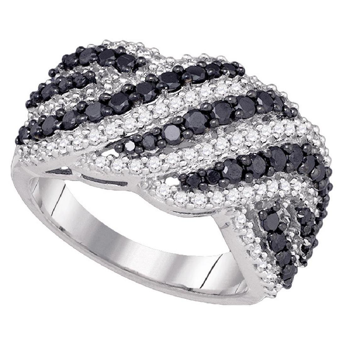 1.5 CTW Black Color Diamond Cocktail Ring 10KT White