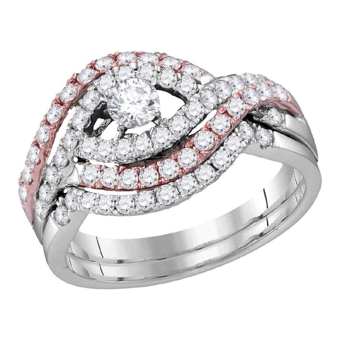 1 CTW Diamond Crossover Bridal Wedding Engagement Ring