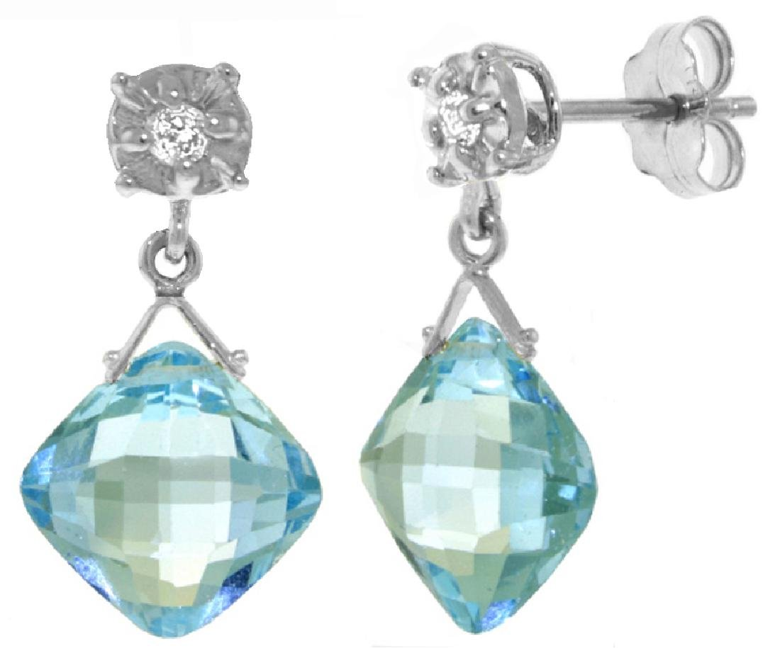 Genuine 17.56 ctw Blue Topaz & Diamond Earrings Jewelry