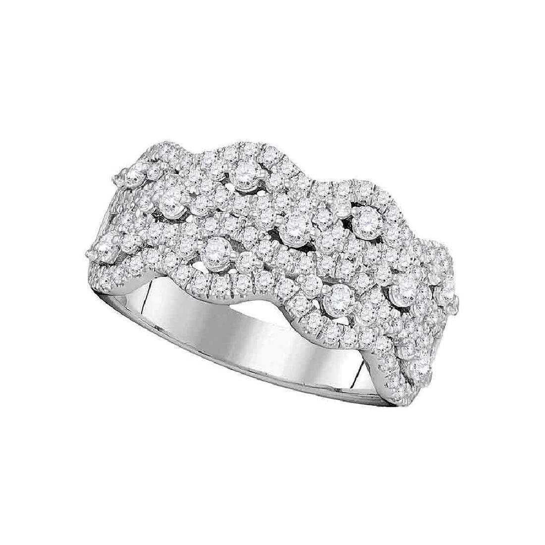 1.13 CTW Pave-set Diamond Strand Cocktail Ring 14KT