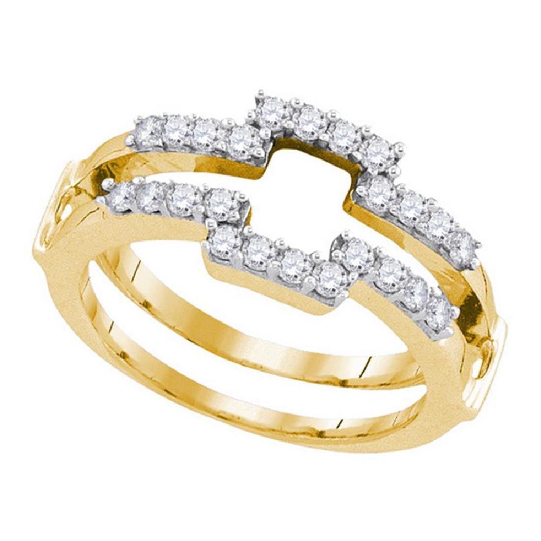 0.50 CTW Diamond Square Wrap Ring 14KT Yellow Gold -