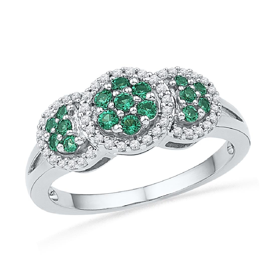 0.43 CTW Created Emerald Diamond Cluster Ring 10KT
