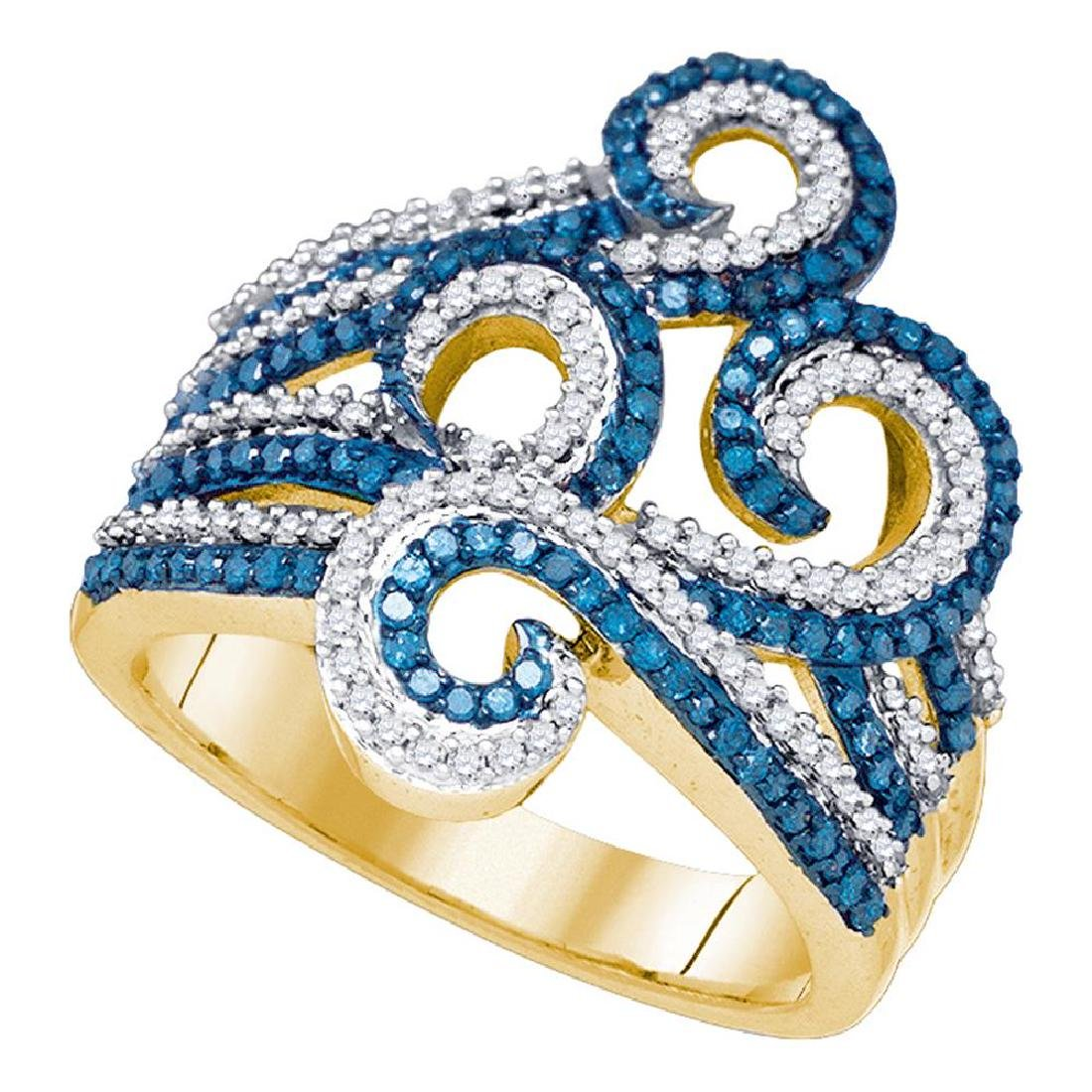 0.77 CTW Blue Color Diamond Wide Swirl Curl Cocktail