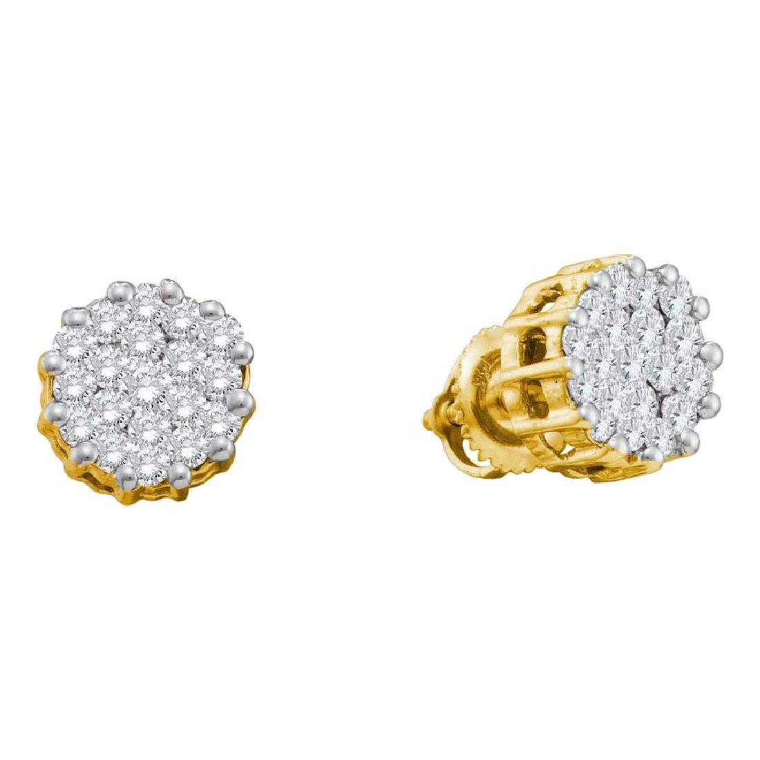 1 CTW Diamond Cluster Earrings 14KT Yellow Gold -