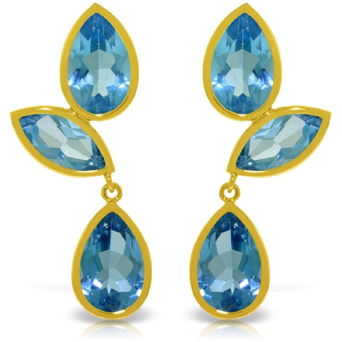 Genuine 13 ctw Blue Topaz Earrings Jewelry 14KT Yellow